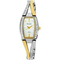Womens Armitron 753856SVTTWmns TwoTone Bangle Crystal Accented,, White dial Swee