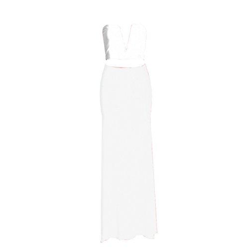 2 Pcs Coral Plunging V-Neck Crop Top Maxi Slit Split Skirt Set Sexy Bodycon Dress (S, White)