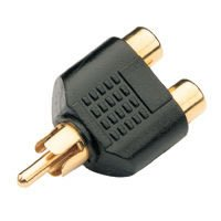 Gold plated splitter RCA plug to 2 x RCA sockets