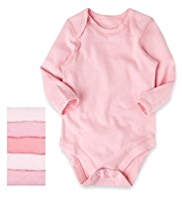 5 Pack Pure Cotton Long Sleeve Bodysuits