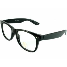 Black Buddy Holly Wayfarer Glasses