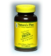 Iron, Chewable, with Vitamin C and Herbs, Cherry Flavour, 90 Tablets