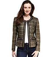 M&S Collection Textured Tweed Jacket with Wool