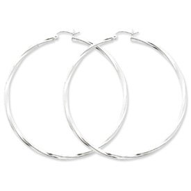 Genuine IceCarats Designer Jewelry Gift Sterling Silver Rhodium-Plated Twisted Hoop Earrings