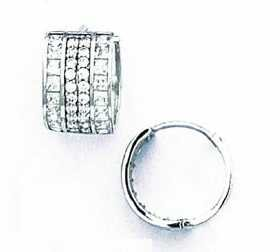 14ct White Gold Round and Square CZ Hinged Earrings