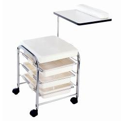 Mini manicure station all white beauty for Mobile beauty therapist table