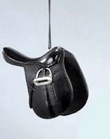 Western Black English Style Saddle with Silver Stirrups Christmas Ornament 4""