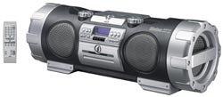 JVC RV NB10B Kaboom Boombox with Guitar Mic Input and Wireless FM Transmitter  Black
