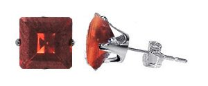 TDEZ2150-GG Nickel Free Sterling Silver 6mm Princess Cut Garnet Cubic Zirconia Post Stud Earrings