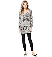 M&S Collection Pure Cashmere Snow Leopard Print Longline Jumper