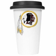 Nfl Washington Redskins Double Wall Tumbler With Silicone Lid, 12-Ounce, White/Black