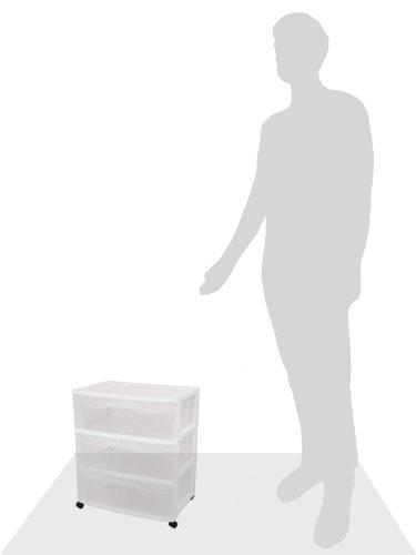 Sterilite-29308001-3-Drawer-Wide-Cart-White