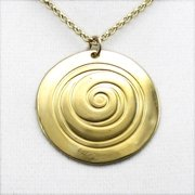 Spiral Gold Dipped Pendant Necklace on Rolo Chain