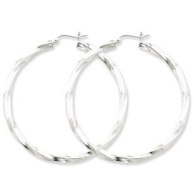 Genuine IceCarats Designer Jewelry Gift Sterling Silver Rhodium-Plated 3Mm Polished Twisted Hoop Earrings