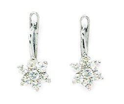 14ct White Gold April Birthstone Clear 1.5mm CZ Flower Leverback Earrings - Measures 13x6mm