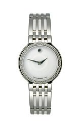 Movado Esperanza Diamonds & Ceramic White Museum Dial Women's Watch #0606072