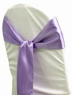 MDS Pack of 50 satin chair sashes bow sash for wedding and Events Supplies Party Decoration chair cover sash -lavender
