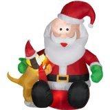 6' Santa & Dog Airblown Inflatable Christmas