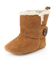 Suede Faux Fur Button Pram Boots