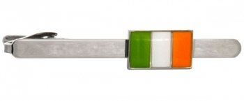 Luxury Rhodium tie clip with enamel Irish flag design. Free gift wrapping.