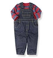 2 Piece Pure Cotton Striped Dungaree Outfit