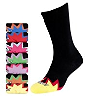 7 Pairs of Freshfeet™ Cotton Rich Explosion Print Socks with Silver Technology