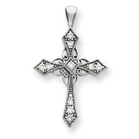 14k White Gold IJ/I2 Diamond Cross Pendant