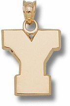 """BYU Cougars 5/8"""" Block """"Y"""" Pendant - Gold Plated Jewelry"""