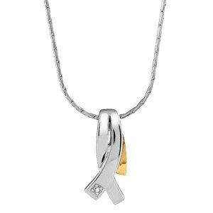 FranceBijoux Damen-Halskette Silber rhodiniert & 18 k (750) Gold Diamant – 46 cm-Neu günstig online kaufen