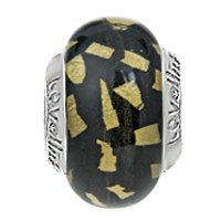 Lovelinks® by Aagaard - Sterling Silver Gold Dust/Black Bead with Murano Glass