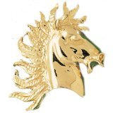 CleverEve 14K Yellow Gold Horse Head Pendant 19.3 Grams
