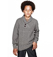 Autograph Shawl Collar Knitted Jumper with Wool