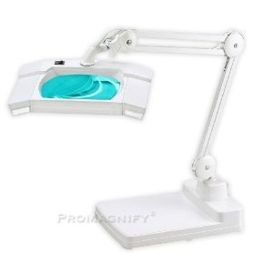 2-in-1 Spring-Arm Magnifier Desk Lamp - Large 5 x 7 Lens - 5 Diopter