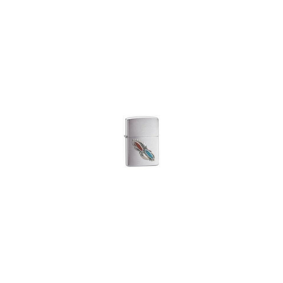 Zippo Lighter   Feather Stone Emblem  Brushed Chrom