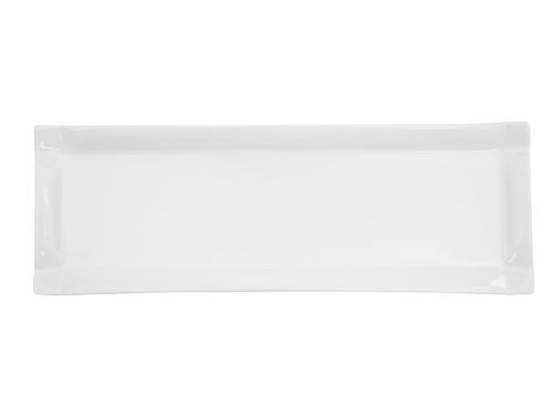 CAC China TMS-61 Times Square Super White Porcelain Rectangular Platter, 16-Inch by 5-1/2-Inch, Box of 12