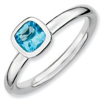 0.64ct Silver Stackable Cushion Cut Blue Topaz Band. Sizes 5-10