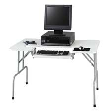 """Safco Products Company Products - Folding Computer Table, 47-1/2""""x29-3/4""""x28-3/4"""", Light Gray - Sold as 1 EA - Folding computer table conveniently folds down to 5-1/4"""" for easy mobility and storage. The 20-3/4"""" wide x 9-1/2"""" deep keyboard shelf is height and tilt adjustable into six different positions. Design features folding steel legs with black end caps and a 3/4"""" thick laminate top. The 37 lb. table holds CPUs up to 19"""" deep and up to 100 lb. evenly distributed."""
