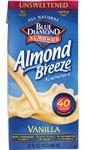 Blue Diamond Almond Breeze Non-Dairy Beverage Unsweetened Vanilla -- 32 Fl Oz