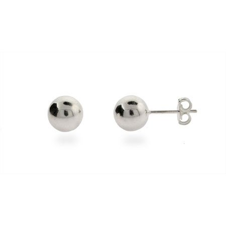 Classic 8mm Mens Silver Bead Earrings