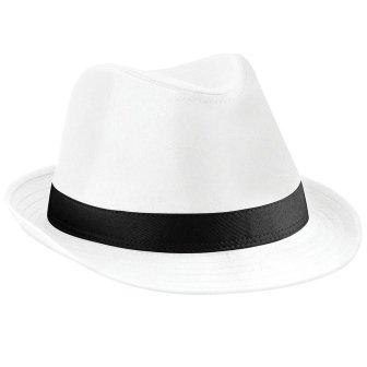 Beechfield B630 Fedora Hat White/Black Large / X-Large image