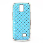 Nokia Asha 308 309 Bling Rhinestone Starry Sky Plating Hard Case - Baby Blue front-586357