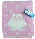 "Playgro Baby 24"" x 44"" Cotton Owl & Stars ""Super Towel"" (Pink)"
