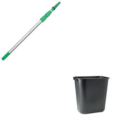 Kitrcp295600Bkunged550 - Value Kit - Opti Loc Aluminum Extension Pole, 18 Ft., Three Sections (Unged550) And Rubbermaid-Black Soft Molded Plastic Wastebasket, 28 1/8 Quart (Rcp295600Bk) front-549697
