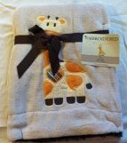 "Embroidered ""Giraffe"" Soft Plush Reversible Blanket"