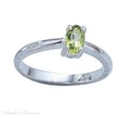 Sterling Silver Oval Peridot Solitaire Ring Size 7
