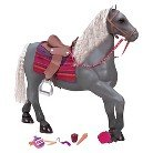 Our Generation Grey Lusitano Horse with Grooming Supplies and Accessories for 18-Inch Dolls