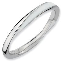 A Purity Silver Twisted White Enamel Stackable Ring. Sizes 5-10 Available