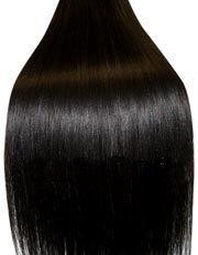 Clip-In-Extensions für komplette Haarverlängerung - hochwertiges Remy-Echthaar - 70 g - 38 cm, Farbe: schwarz #1