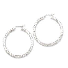 Sterling Silver Diamond-Cut Square Hoop Earrings - JewelryWeb