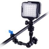 Neewer 7''/18cm Articulating Magic Arm for Mounting HDMI Monitor LED Lights with 1/4'' Thread 15mm Rod Clamp